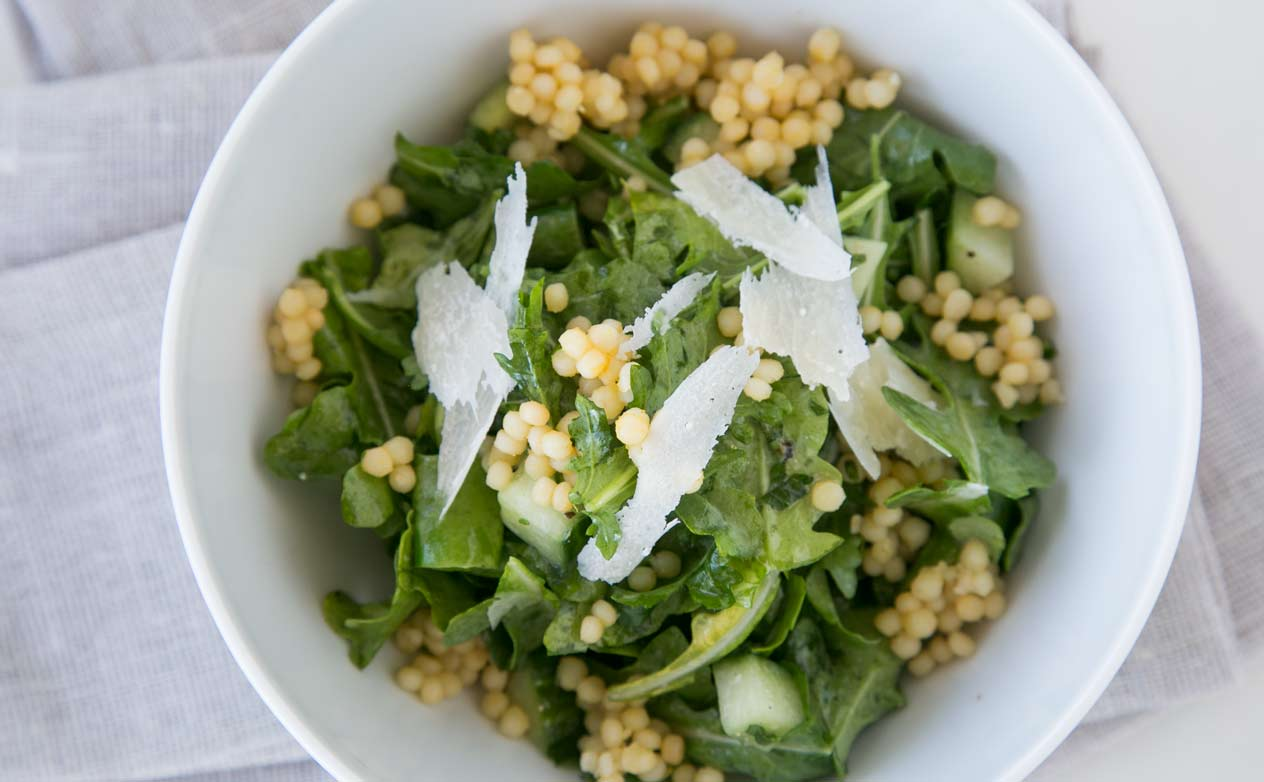 Plated arugula and sugar snap salad